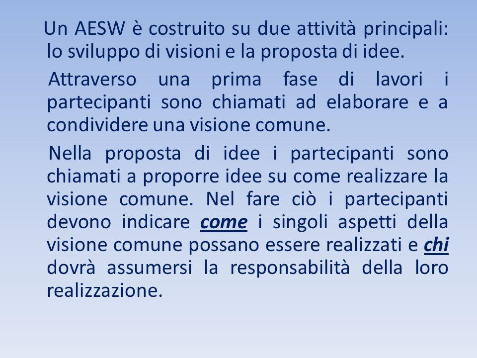 Un AESW è costruito su due attività principali: lo sviluppo di visioni e la proposta di idee. Attraverso una prima fase di lavori i partecipanti sono