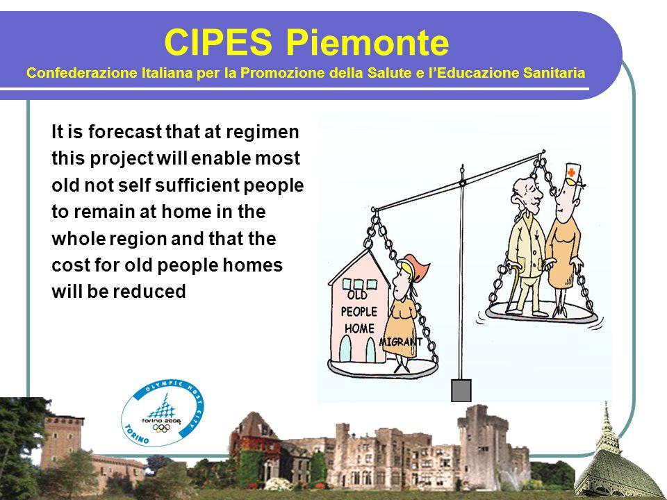 CIPES Piemonte Confederazione Italiana per la Promozione della Salute e l'Educazione Sanitaria It is forecast that at regimen this project will enable