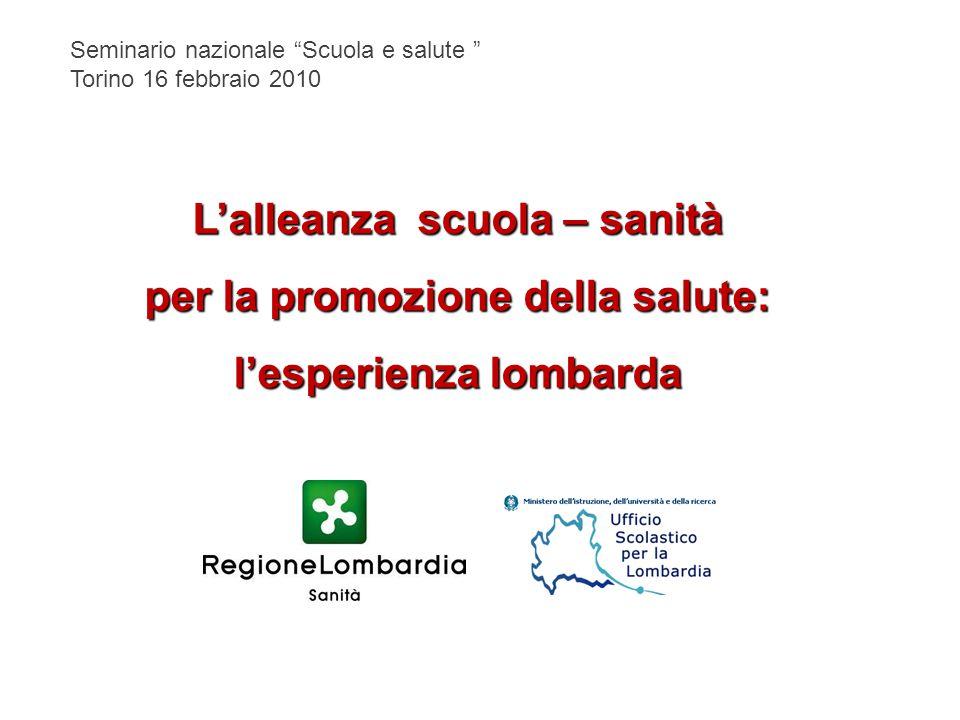 """Seminario nazionale """"Scuola e salute """" Torino 16 febbraio 2010 L'alleanza scuola – sanità per la promozione della salute: l'esperienza lombarda"""