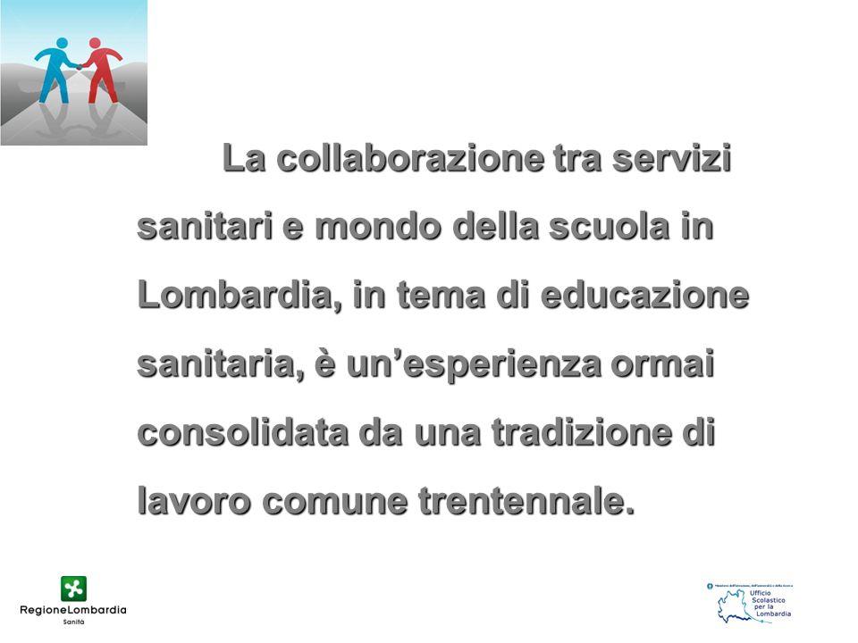 La collaborazione tra servizi sanitari e mondo della scuola in Lombardia, in tema di educazione sanitaria, è un'esperienza ormai consolidata da una tr