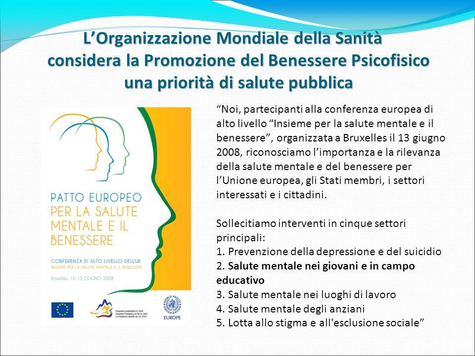 """L'Organizzazione Mondiale della Sanità considera la Promozione del Benessere Psicofisico una priorità di salute pubblica """"Noi, partecipanti alla confe"""
