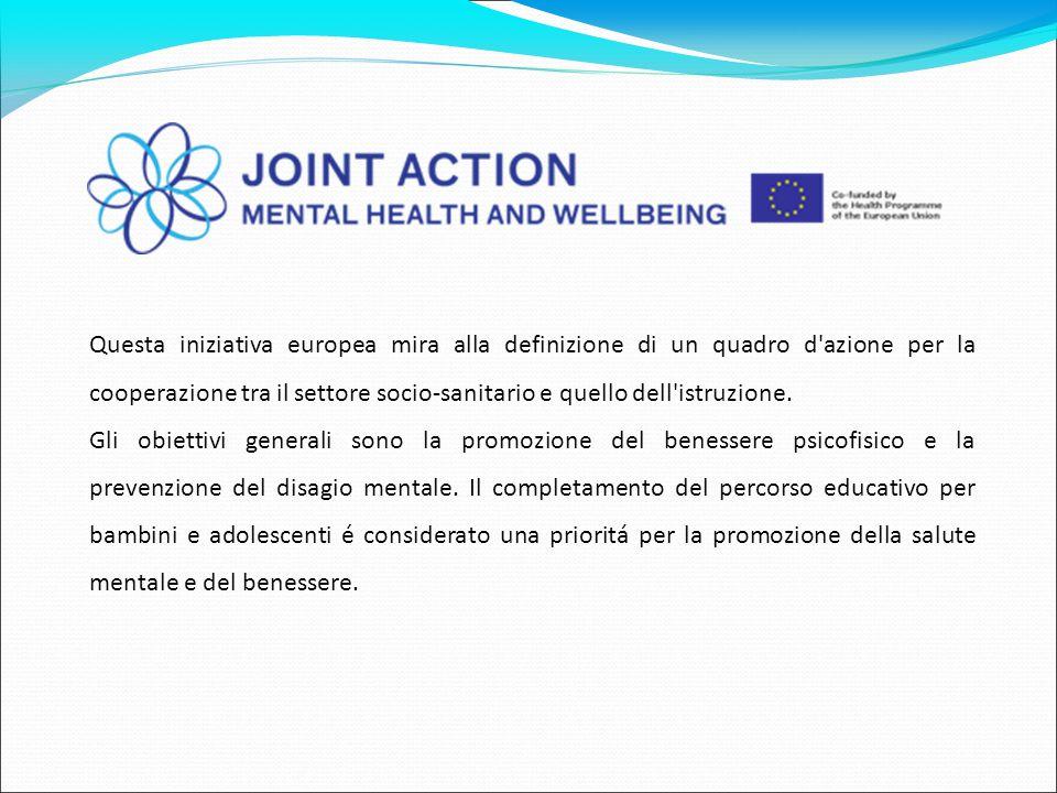 Questa iniziativa europea mira alla definizione di un quadro d'azione per la cooperazione tra il settore socio-sanitario e quello dell'istruzione. Gli