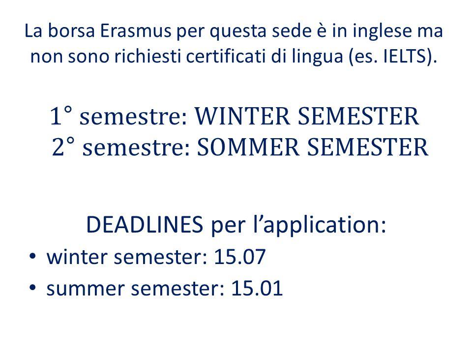 La borsa Erasmus per questa sede è in inglese ma non sono richiesti certificati di lingua (es.