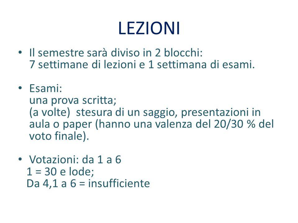 LEZIONI Il semestre sarà diviso in 2 blocchi: 7 settimane di lezioni e 1 settimana di esami.