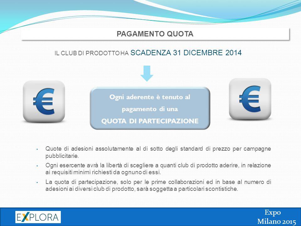 Expo Milano 2015 PAGAMENTO QUOTA Quote di adesioni assolutamente al di sotto degli standard di prezzo per campagne pubblicitarie. Ogni esercente avrà