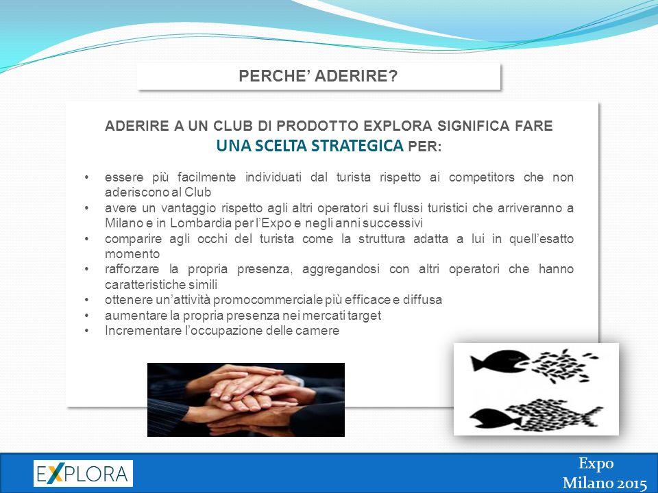 Expo Milano 2015 PERCHE' ADERIRE? ADERIRE A UN CLUB DI PRODOTTO EXPLORA SIGNIFICA FARE UNA SCELTA STRATEGICA PER: essere più facilmente individuati da