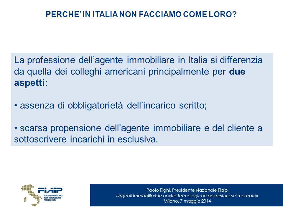Paolo Righi, Presidente Nazionale Fiaip «Agenti Immobiliari: le novità tecnologiche per restare sul mercato» Milano, 7 maggio 2014 PERCHE' IN ITALIA N