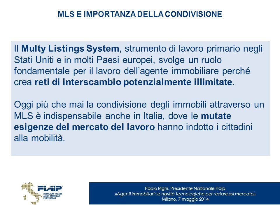 Paolo Righi, Presidente Nazionale Fiaip «Agenti Immobiliari: le novità tecnologiche per restare sul mercato» Milano, 7 maggio 2014 MLS E IMPORTANZA DE