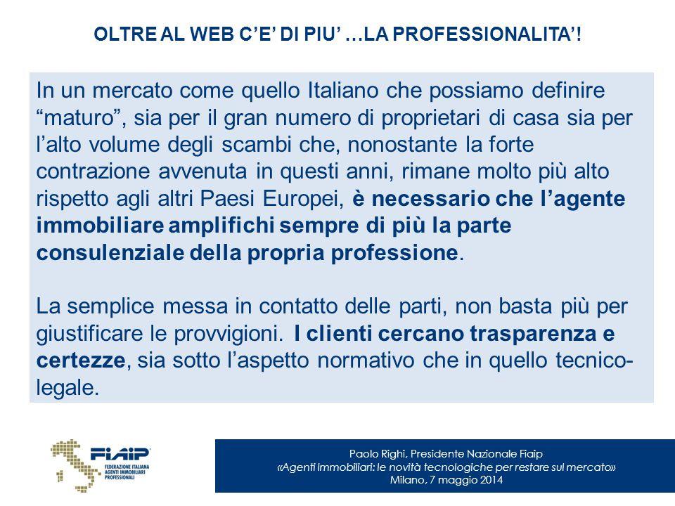 Paolo Righi, Presidente Nazionale Fiaip «Agenti Immobiliari: le novità tecnologiche per restare sul mercato» Milano, 7 maggio 2014 OLTRE AL WEB C'E' D