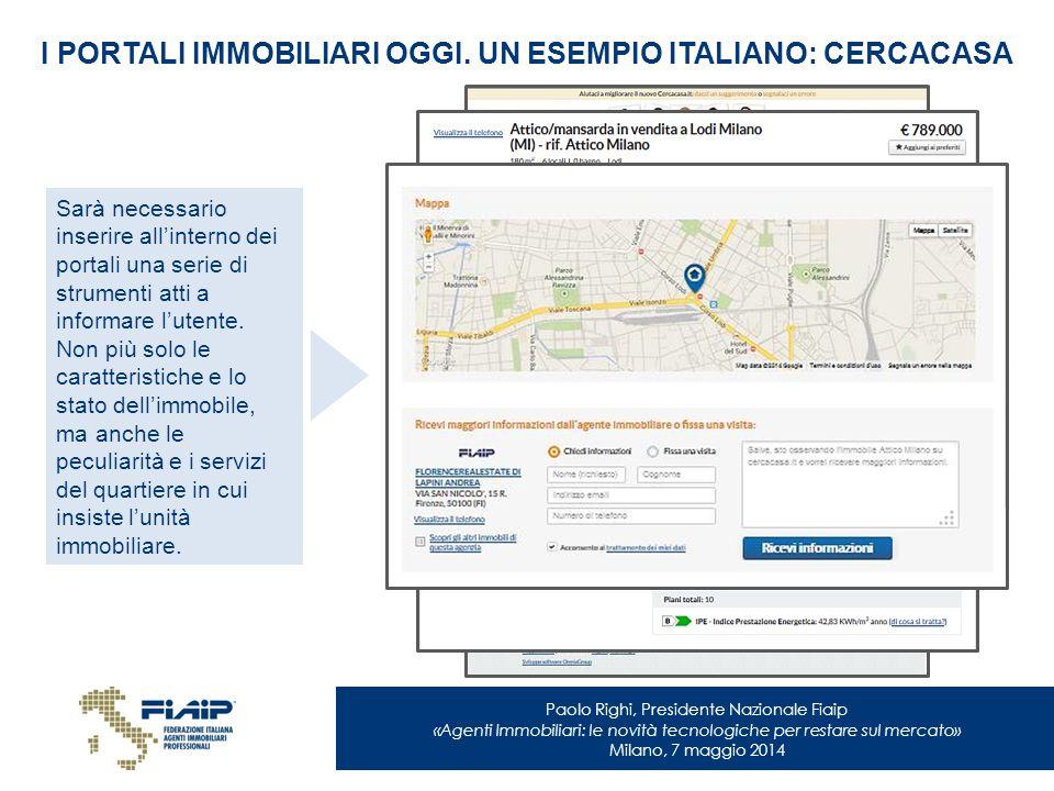Paolo Righi, Presidente Nazionale Fiaip «Agenti Immobiliari: le novità tecnologiche per restare sul mercato» Milano, 7 maggio 2014 I PORTALI IMMOBILIA