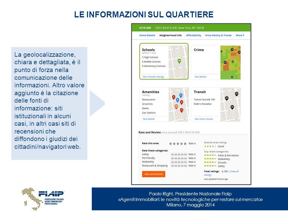 Paolo Righi, Presidente Nazionale Fiaip «Agenti Immobiliari: le novità tecnologiche per restare sul mercato» Milano, 7 maggio 2014 LE INFORMAZIONI SUL