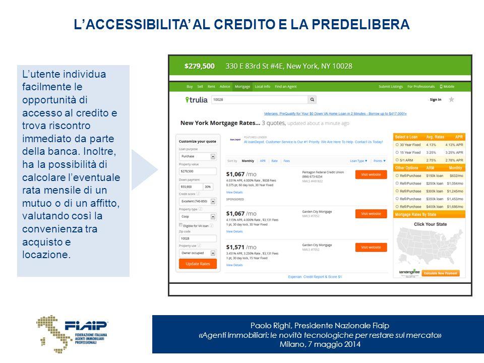 Paolo Righi, Presidente Nazionale Fiaip «Agenti Immobiliari: le novità tecnologiche per restare sul mercato» Milano, 7 maggio 2014 L'ACCESSIBILITA' AL