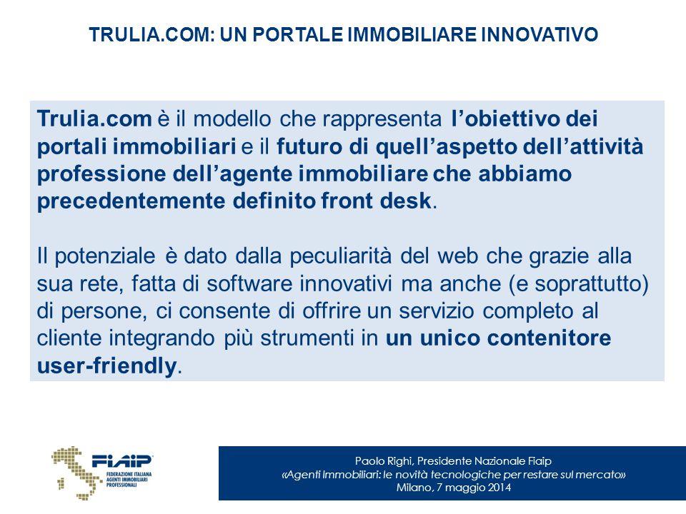 Paolo Righi, Presidente Nazionale Fiaip «Agenti Immobiliari: le novità tecnologiche per restare sul mercato» Milano, 7 maggio 2014 TRULIA.COM: UN PORT
