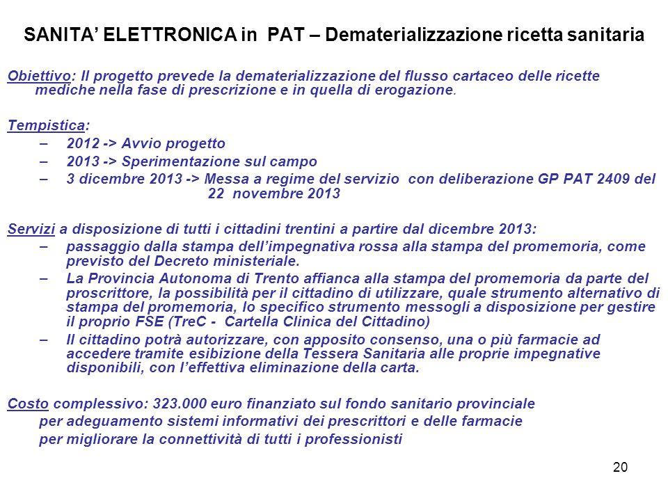 20 SANITA' ELETTRONICA in PAT – Dematerializzazione ricetta sanitaria Obiettivo: Il progetto prevede la dematerializzazione del flusso cartaceo delle