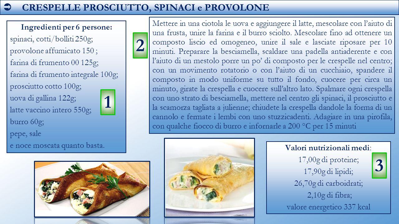  CRESPELLE PROSCIUTTO, SPINACI e PROVOLONE Ingredienti per 6 persone: spinaci, cotti/bolliti 250g; provolone affumicato 150 ; farina di frumento 00