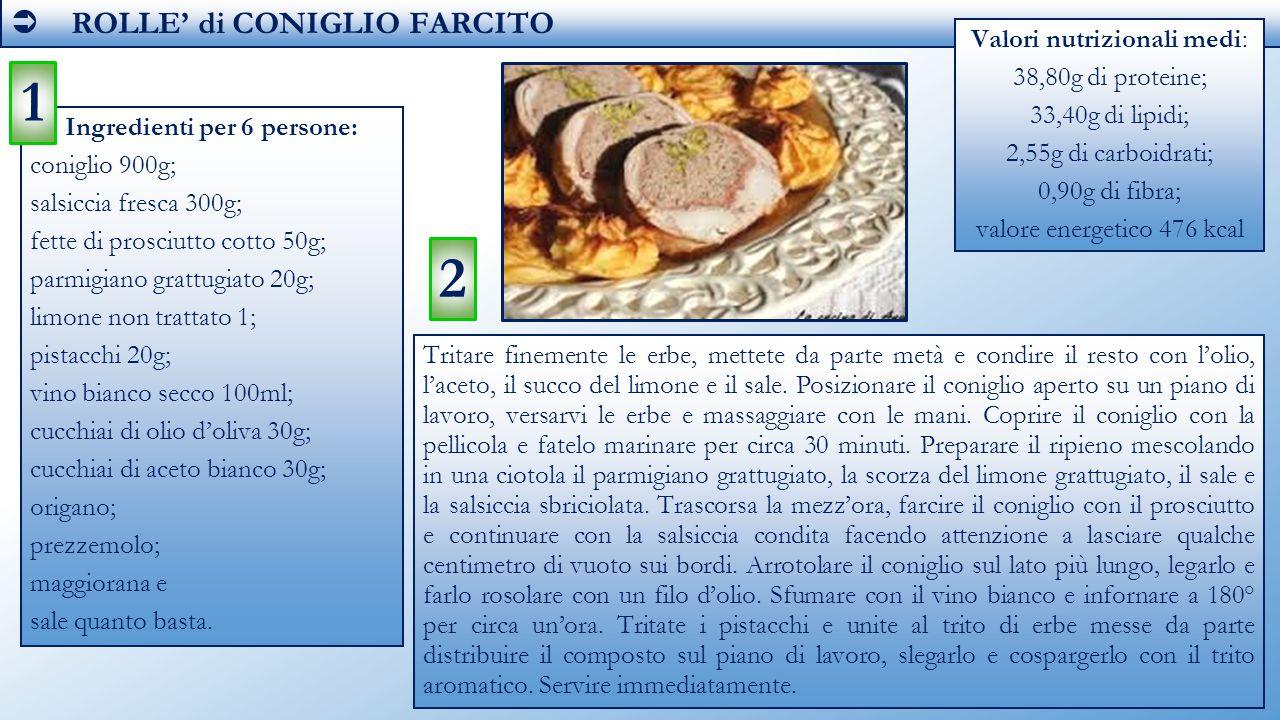 Ingredienti per 6 persone: coniglio 900g; salsiccia fresca 300g; fette di prosciutto cotto 50g; parmigiano grattugiato 20g; limone non trattato 1; pis