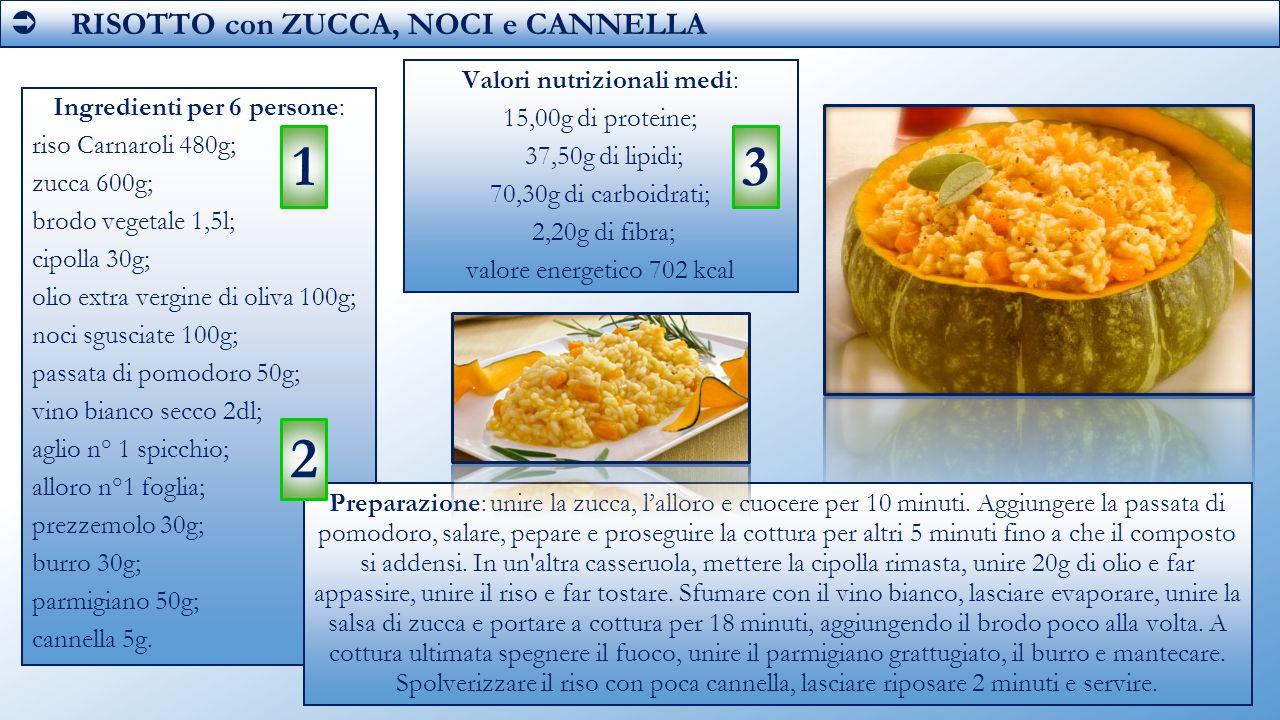  RISOTTO con ZUCCA, NOCI e CANNELLA Ingredienti per 6 persone: riso Carnaroli 480g; zucca 600g; brodo vegetale 1,5l; cipolla 30g; olio extra vergine