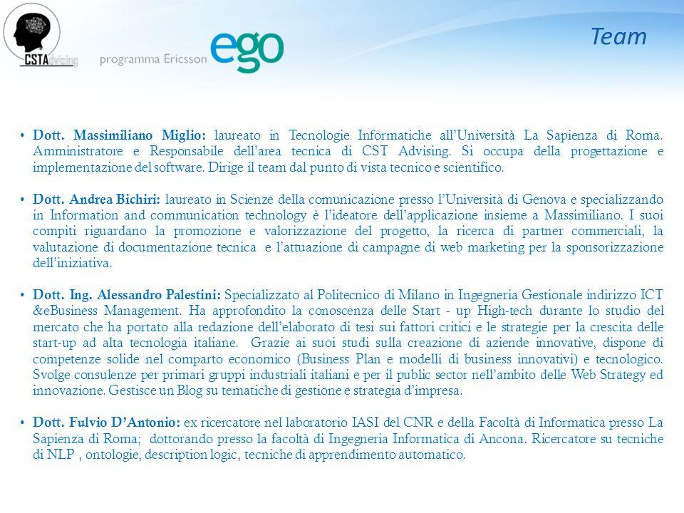 Team Dott. Massimiliano Miglio: laureato in Tecnologie Informatiche all'Università La Sapienza di Roma. Amministratore e Responsabile dell'area tecnic