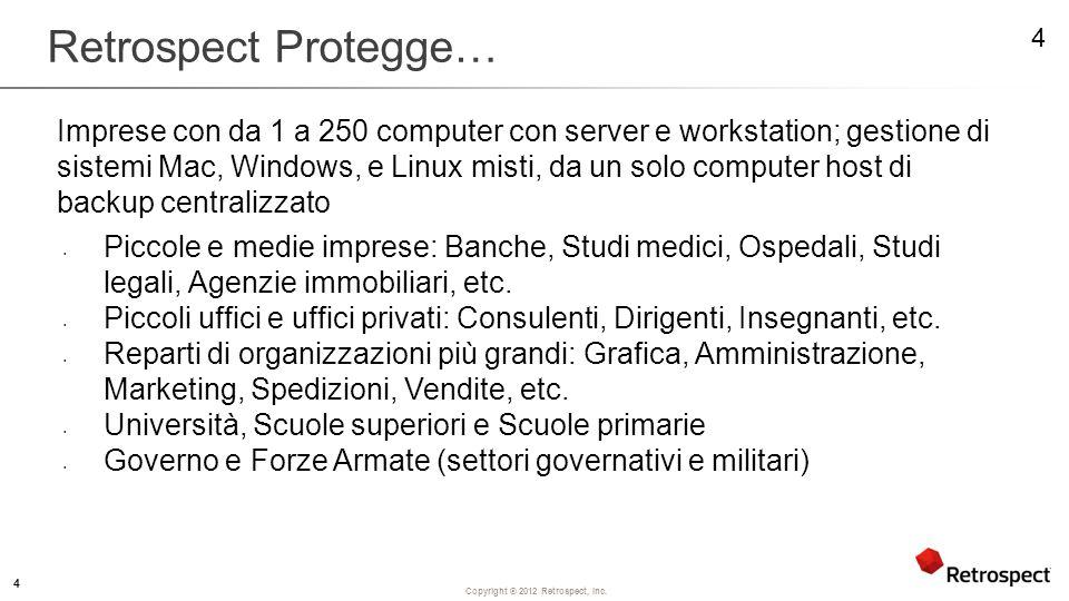 Copyright ® 2012 Retrospect, Inc.Cosa ricercare.