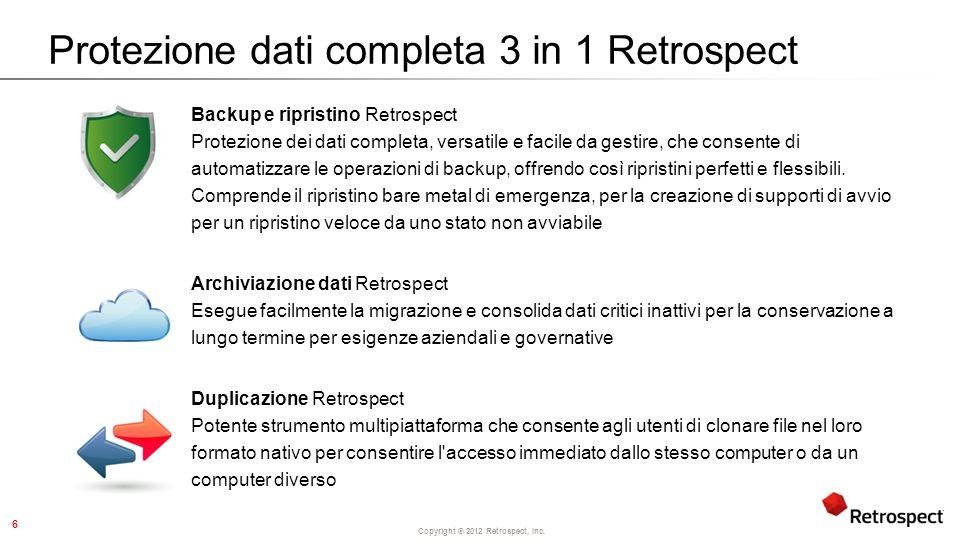 Copyright ® 2012 Retrospect, Inc.Novità di Retrospect.