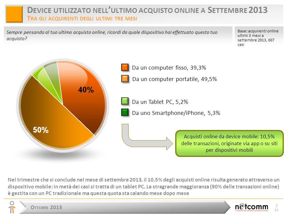 O TTOBRE 2013 8 21 D EVICE UTILIZZATO NELL ' ULTIMO ACQUISTO DI A BBIGLIAMENTO E S CARPE T RA GLI ACQUIRENTI DEGLI ULTIMI TRE MESI A SETTEMBRE 2013 Tra gli acquirenti online di abbigliamento la quota di acquisti online generata attraverso un dispositivo mobile è decisamente superiore alla media: quasi un acquisto su cinque è prodotto da un dispositivo mobile e in metà di questi casi si tratta di un tablet PC.