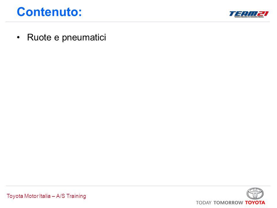 Toyota Motor Italia – A/S Training Contenuto: Ruote e pneumatici