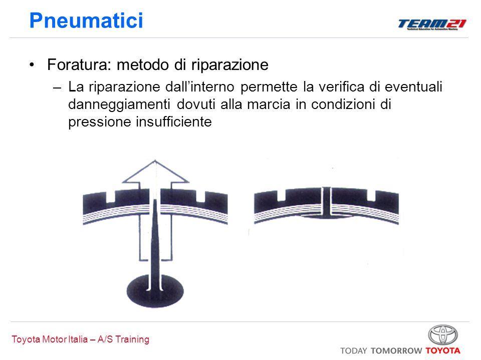 Toyota Motor Italia – A/S Training Pneumatici Foratura: metodo di riparazione –La riparazione dall'interno permette la verifica di eventuali danneggia