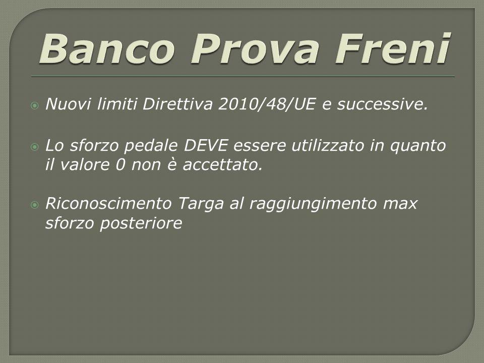  Nuovi limiti Direttiva 2010/48/UE e successive.  Lo sforzo pedale DEVE essere utilizzato in quanto il valore 0 non è accettato.  Riconoscimento Ta