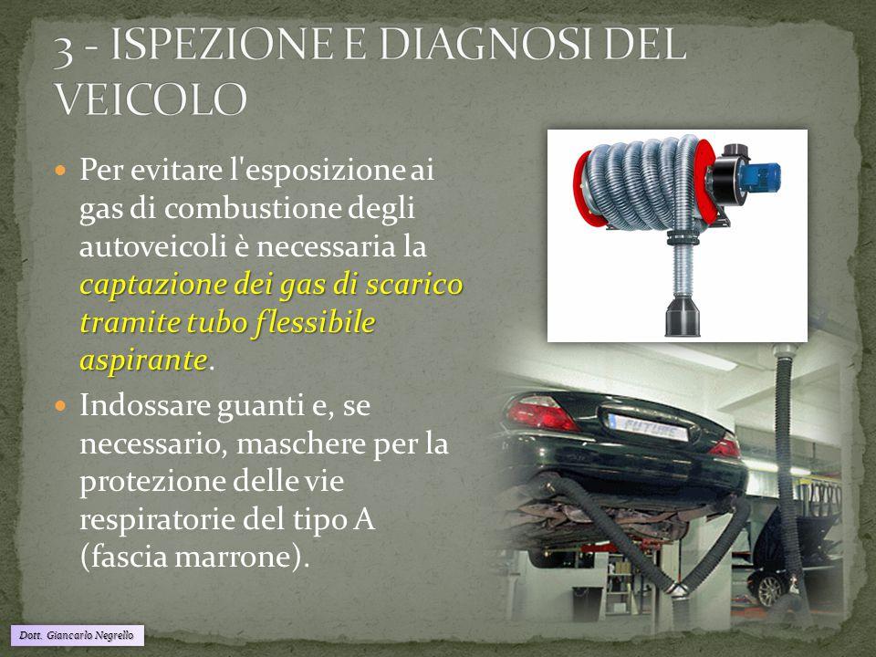 Dott. Giancarlo Negrello captazione dei gas di scarico tramite tubo flessibile aspirante Per evitare l'esposizione ai gas di combustione degli autovei
