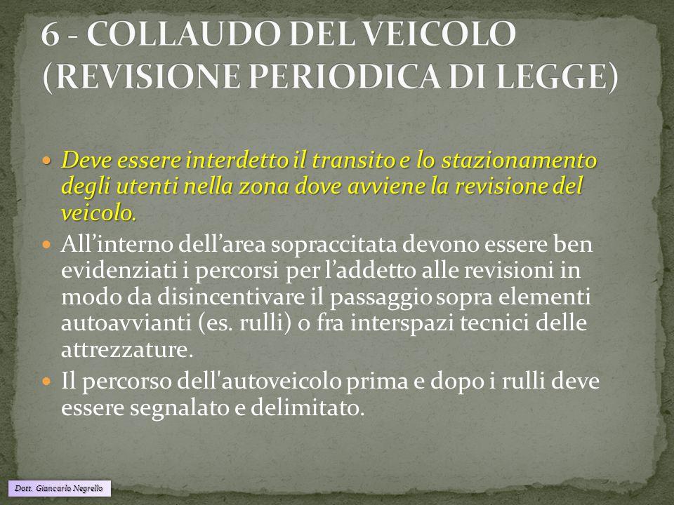Dott. Giancarlo Negrello Deve essere interdetto il transito e lo stazionamento degli utenti nella zona dove avviene la revisione del veicolo. Deve ess