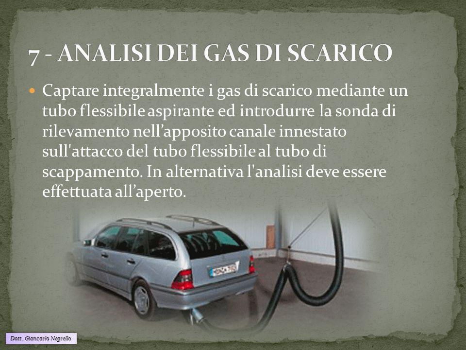 Dott. Giancarlo Negrello Captare integralmente i gas di scarico mediante un tubo flessibile aspirante ed introdurre la sonda di rilevamento nell'appos