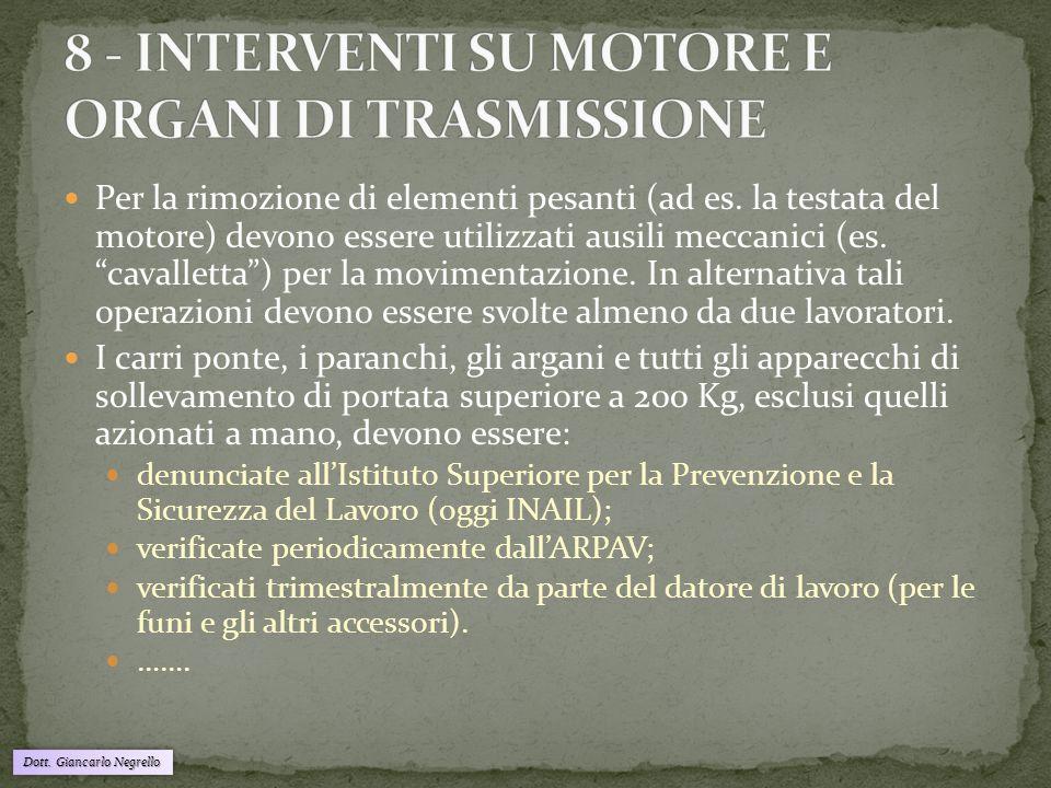 """Per la rimozione di elementi pesanti (ad es. la testata del motore) devono essere utilizzati ausili meccanici (es. """"cavalletta"""") per la movimentazione"""