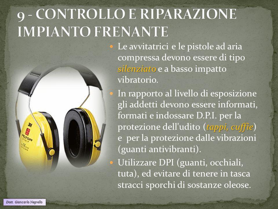 Dott. Giancarlo Negrello silenziato Le avvitatrici e le pistole ad aria compressa devono essere di tipo silenziato e a basso impatto vibratorio. tappi