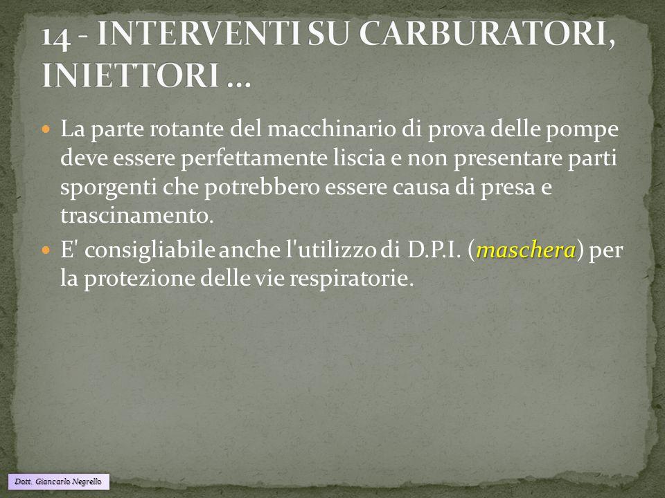 Dott. Giancarlo Negrello La parte rotante del macchinario di prova delle pompe deve essere perfettamente liscia e non presentare parti sporgenti che p