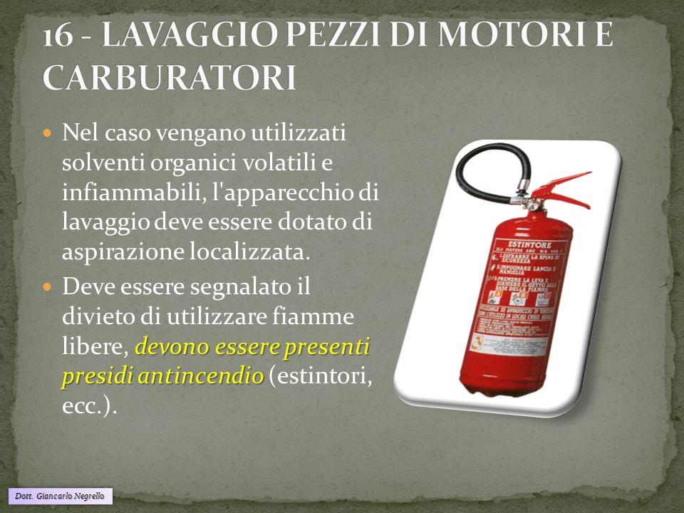 Dott. Giancarlo Negrello Nel caso vengano utilizzati solventi organici volatili e infiammabili, l'apparecchio di lavaggio deve essere dotato di aspira