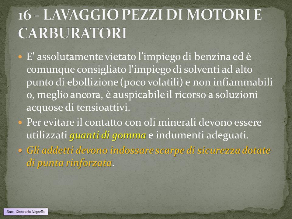 Dott. Giancarlo Negrello E' assolutamente vietato l'impiego di benzina ed è comunque consigliato l'impiego di solventi ad alto punto di ebollizione (p