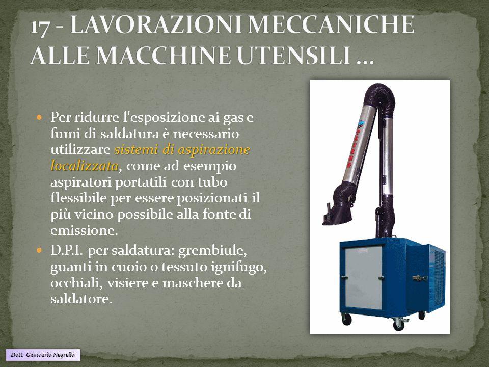 Dott. Giancarlo Negrello sistemi di aspirazione localizzata Per ridurre l'esposizione ai gas e fumi di saldatura è necessario utilizzare sistemi di as