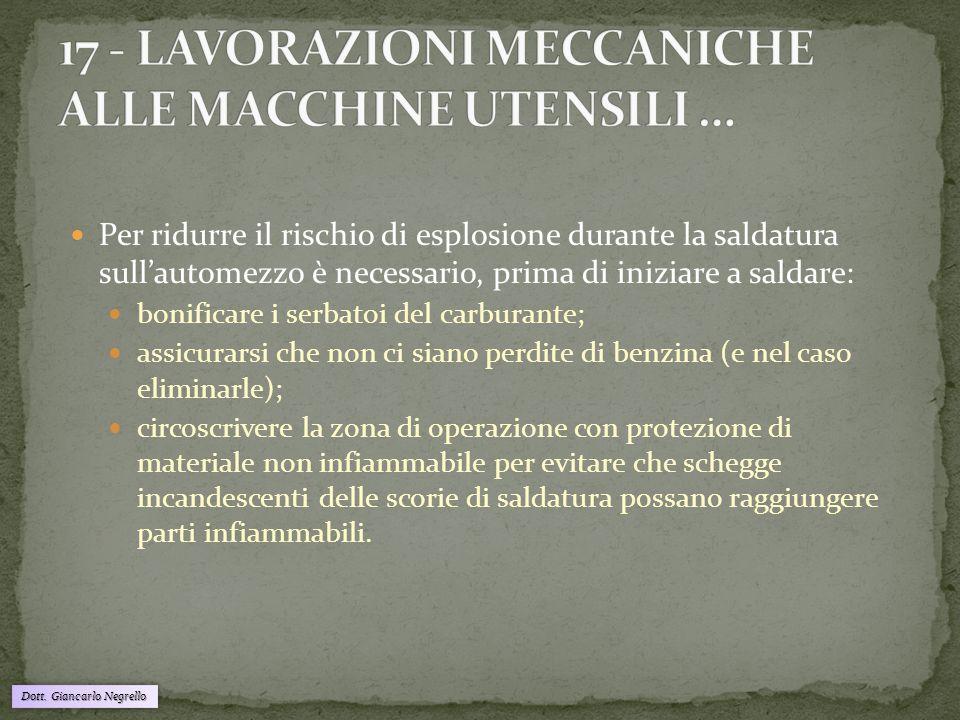 Dott. Giancarlo Negrello Per ridurre il rischio di esplosione durante la saldatura sull'automezzo è necessario, prima di iniziare a saldare: bonificar