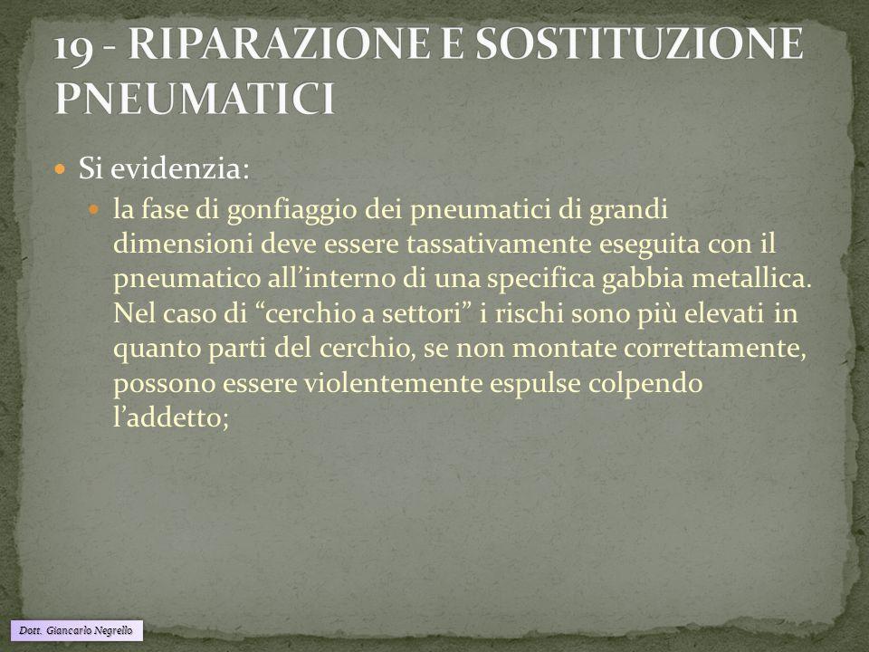 Dott. Giancarlo Negrello Si evidenzia: la fase di gonfiaggio dei pneumatici di grandi dimensioni deve essere tassativamente eseguita con il pneumatico