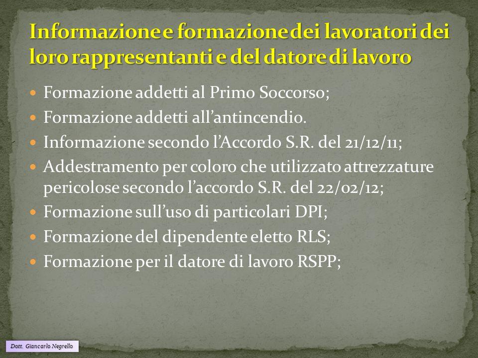 Dott. Giancarlo Negrello Formazione addetti al Primo Soccorso; Formazione addetti all'antincendio. Informazione secondo l'Accordo S.R. del 21/12/11; A