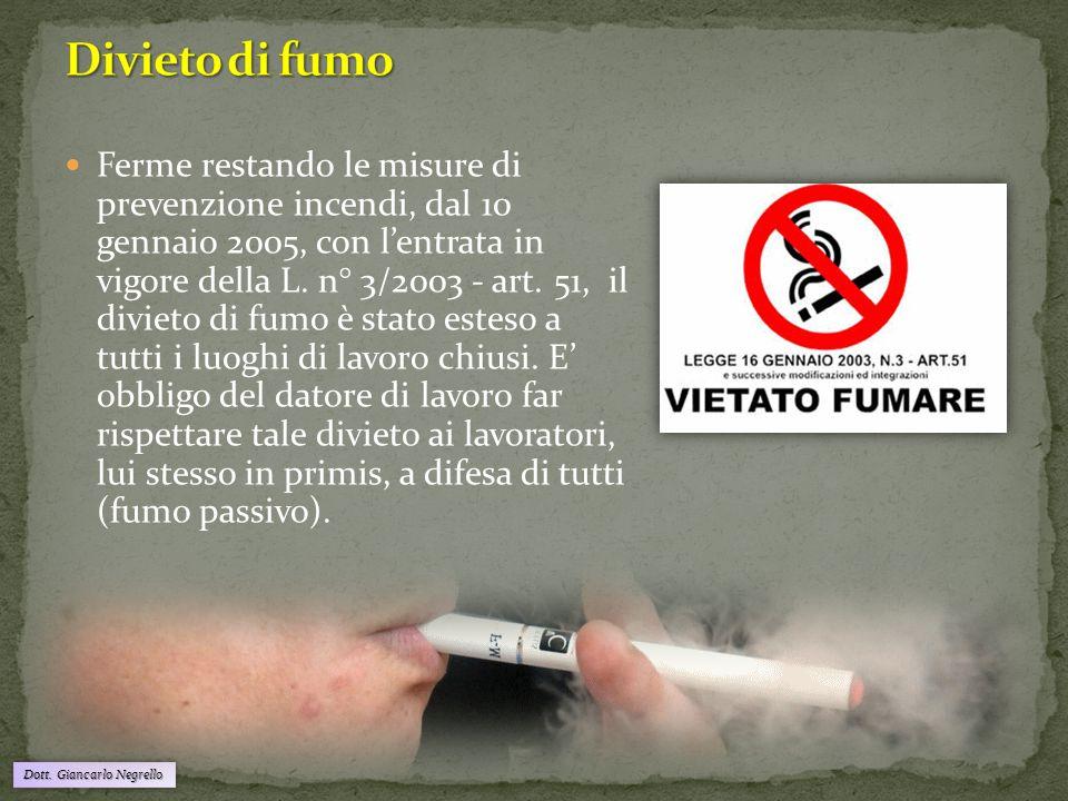Dott. Giancarlo Negrello Ferme restando le misure di prevenzione incendi, dal 10 gennaio 2005, con l'entrata in vigore della L. n° 3/2003 - art. 51, i