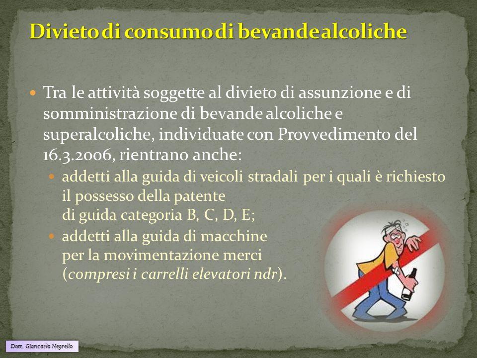 Dott. Giancarlo Negrello Tra le attività soggette al divieto di assunzione e di somministrazione di bevande alcoliche e superalcoliche, individuate co