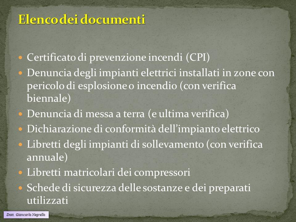 Dott. Giancarlo Negrello Certificato di prevenzione incendi (CPI) Denuncia degli impianti elettrici installati in zone con pericolo di esplosione o in