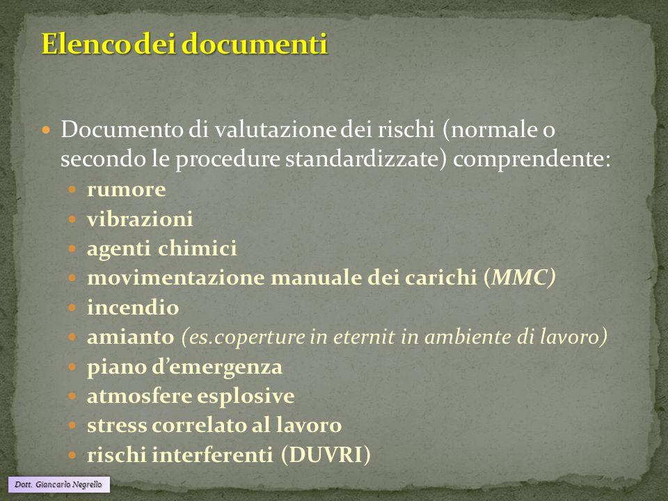 Dott. Giancarlo Negrello Documento di valutazione dei rischi (normale o secondo le procedure standardizzate) comprendente: rumore vibrazioni agenti ch