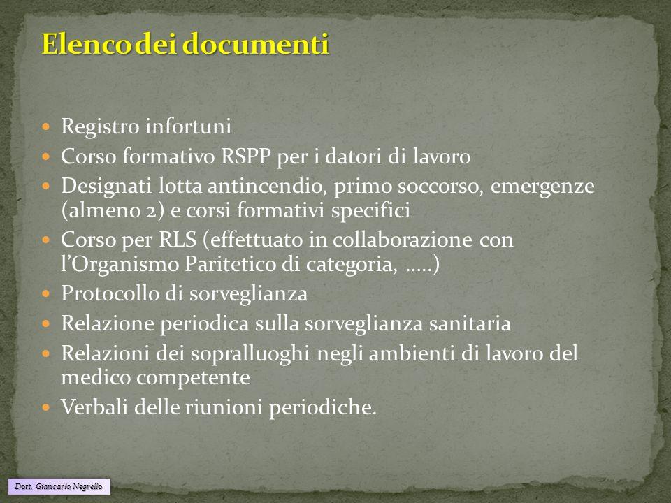 Dott. Giancarlo Negrello Registro infortuni Corso formativo RSPP per i datori di lavoro Designati lotta antincendio, primo soccorso, emergenze (almeno