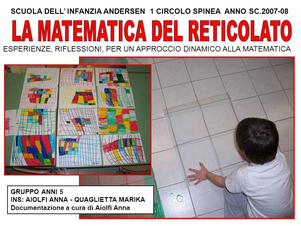 SCUOLA DELL' INFANZIA ANDERSEN 1 CIRCOLO SPINEA ANNO SC.2007-08 ESPERIENZE, RIFLESSIONI, PER UN APPROCCIO DINAMICO ALLA MATEMATICA GRUPPO ANNI 5 INS: