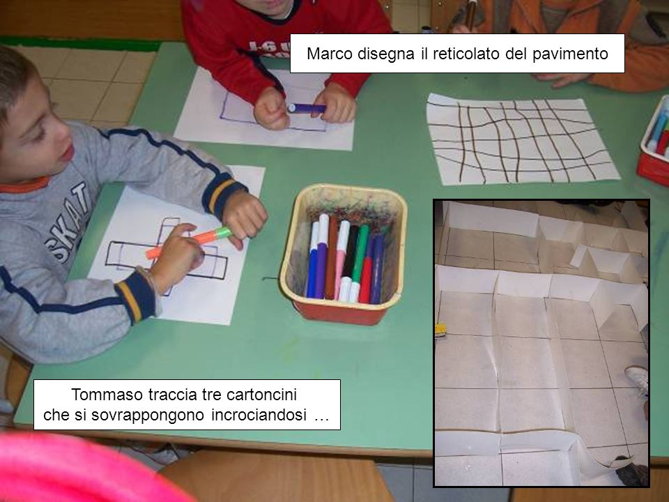 Tommaso traccia tre cartoncini che si sovrappongono incrociandosi … Marco disegna il reticolato del pavimento