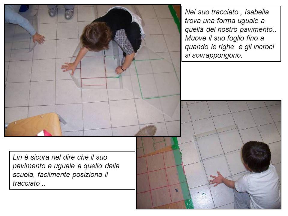 Nel suo tracciato, Isabella trova una forma uguale a quella del nostro pavimento.. Muove il suo foglio fino a quando le righe e gli incroci si sovrapp