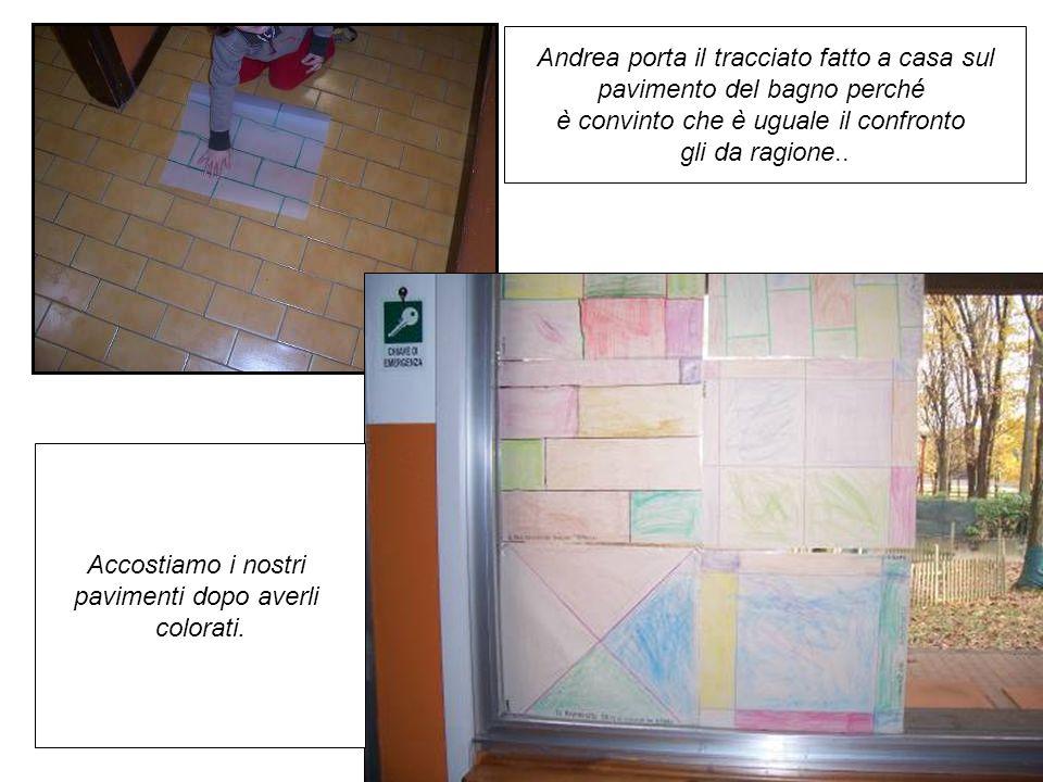 Andrea porta il tracciato fatto a casa sul pavimento del bagno perché è convinto che è uguale il confronto gli da ragione.. Accostiamo i nostri pavime