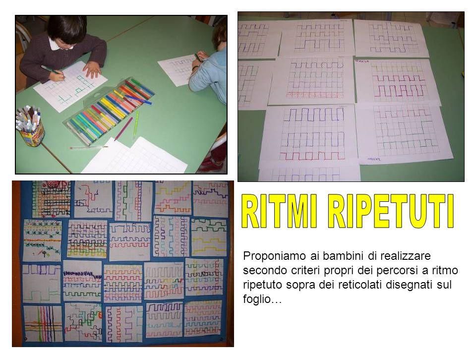 Proponiamo ai bambini di realizzare secondo criteri propri dei percorsi a ritmo ripetuto sopra dei reticolati disegnati sul foglio…